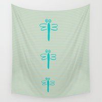 dragonfly Wall Tapestries featuring dragonfly by gzm_guvenc