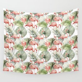 Tropical flamingo. Watercolor pattern Wall Tapestry