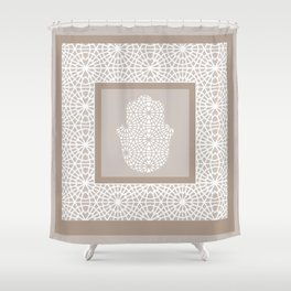 Hamsa in morrocan pattern Shower Curtain