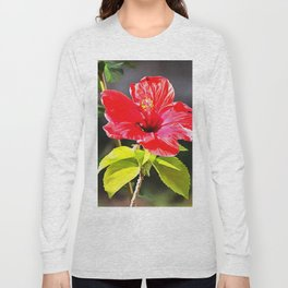 Beautiful Red Tropical Hibiscus Flower Long Sleeve T-shirt