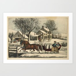 Winter Morning in the Country , Currier & Ives Art Print