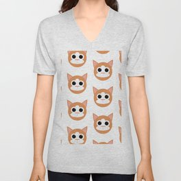 Orange Cats Pattern Unisex V-Neck
