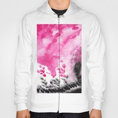 Abstract pink black watercolor paint Hoody