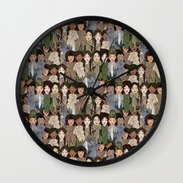 Ladies Wearing Scarves Wall Clock