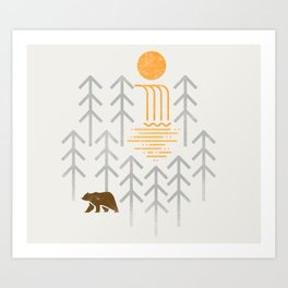 The Brown Bear - Geometric waterfall trees and forest, sun Art Print
