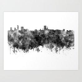 Birmingham skyline in black watercolor on white background Art Print