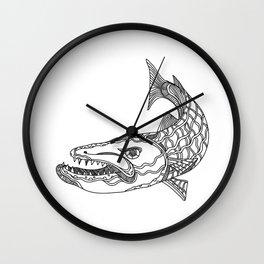 Barracuda Fish Doodle Art Wall Clock