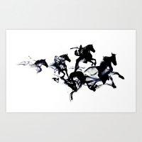 horses Art Prints featuring Black horses by Robert Farkas