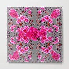 GREY &  CERISE PINK ROSES BROCADE PATTERN ART Metal Print