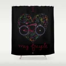I Love my Bicycle Shower Curtain