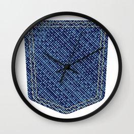 Plain Denim Pocket Wall Clock