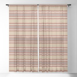 Cavern Clay SW 7701 Horizontal Line Pattern 6 and Accent Colors Sheer Curtain