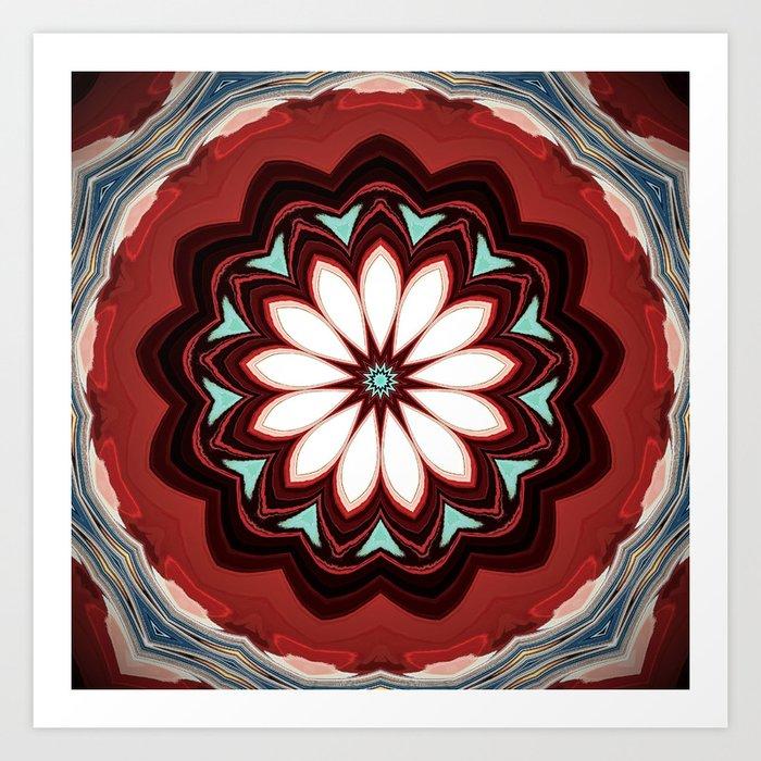 Decorative Deep Red and White Flower Design Kunstdrucke