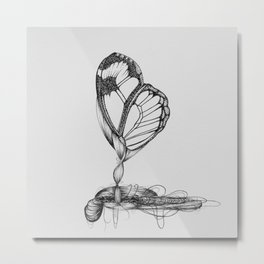 Butterfly Black Ink Drawing Metal Print