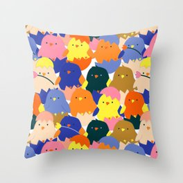 Colored Baby Chickens pattern Throw Pillow