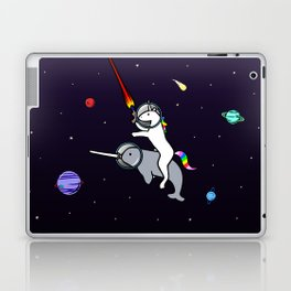 Unicorn Riding Narwhal In Space Laptop & iPad Skin