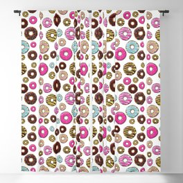 Donut Pattern, Colorful Donuts - Pink Blue Yellow Blackout Curtain