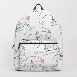 Cozy White Kitty Pattern Backpack