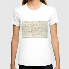 Vintage Map of The World Whaling Grounds (1880) T-shirt