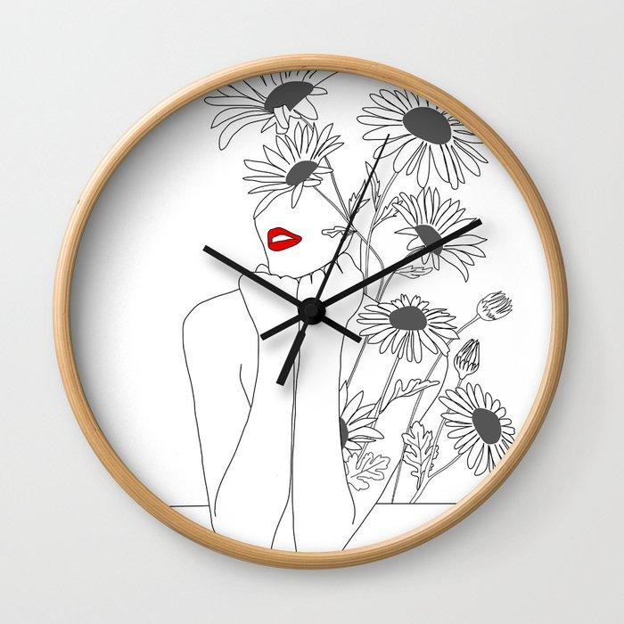 Minimal Line Art Girl with Sunflowers Wall Clock