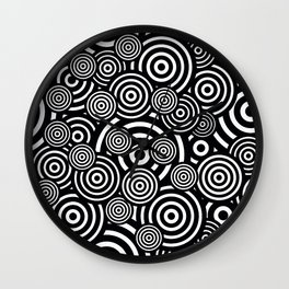 BLACK AND WHITE BULLSEYE ABSTRACT Wall Clock