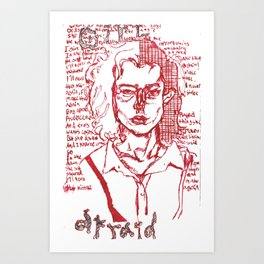 girl afraid the smiths homage portrait red Art Print