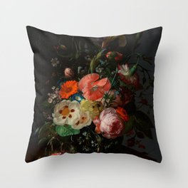 "Rachel Ruysch ""Still Life with Flowers on a Marble Tabletop"" Throw Pillow"