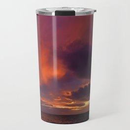 Winter sunset above sea Travel Mug