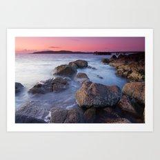 Portencross jetty Sunset Art Print