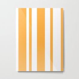 Mixed Vertical Stripes - White and Pastel Orange Metal Print