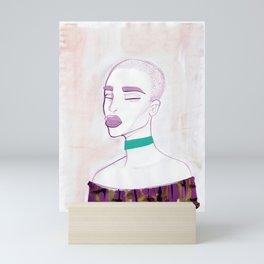 Eva with a 90s choker Mini Art Print