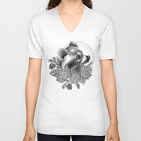raccoon V-neck T-shirts featuring RACCOON by Thiago Bianchini