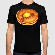Pancakes Pattern Black Mens Fitted Tee LARGE