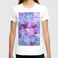 shabby chic T-shirts featuring Roses Bountiful Shabby Chic in Purple and Blue Mosaic  by Saundra Myles