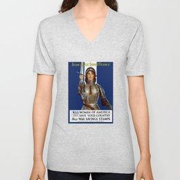 Joan of Arc Saved France - World War I Poster Unisex V-Neck