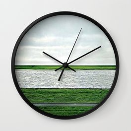 Society6 Most Expensive Home Art - Andreas - S6 - Gursky - Remix Art - PopArt Rhein II (1999) Sketch Wall Clock