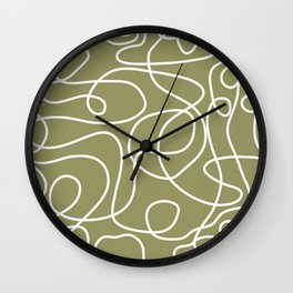 Doodle Line Art | White Lines on Khaki/Olive Green Wall Clock