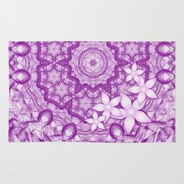 flowers on purple mandala Rug