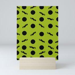 Discs & Flows (Black & Yellowgreen) Mini Art Print