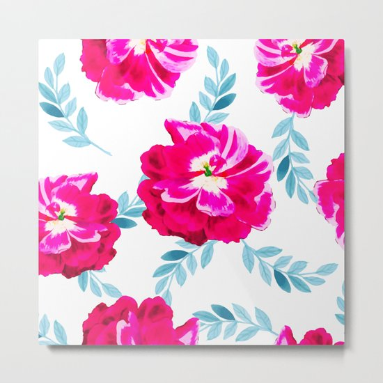 Fluorescent Florals #society6 #decor #buyart Metal Print