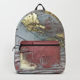 Darling [2]: a minimal, abstract mixed-media piece in pink, white, and gold by Alyssa Hamilton Art Backpack