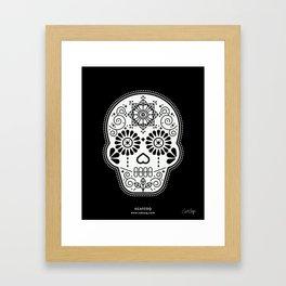 Día de Muertos Calavera • Mexican Sugar Skull – White on Black Palette Framed Art Print