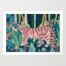 Tiger in a fantastic forest Art Print