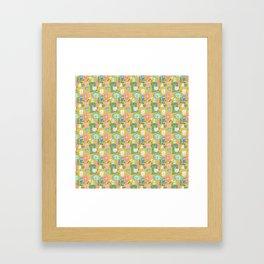 Retro Kitchen in Mustard Framed Art Print