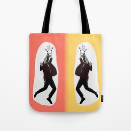 Giraffe in a Suit by Debbie Porter Tote Bag