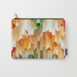 Geometric Tiled Orange Green Abstract Design Carry-All Pouch