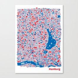 Hamburg City Map Poster Canvas Print