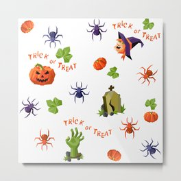 Halloween seamless mixed pattern in low-poly style Metal Print