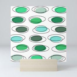 Mid Century Modern Ovals Scribbles Green Mini Art Print