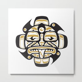 Northwest Pacific American Native Totem In Gold No. 7 Metal Print